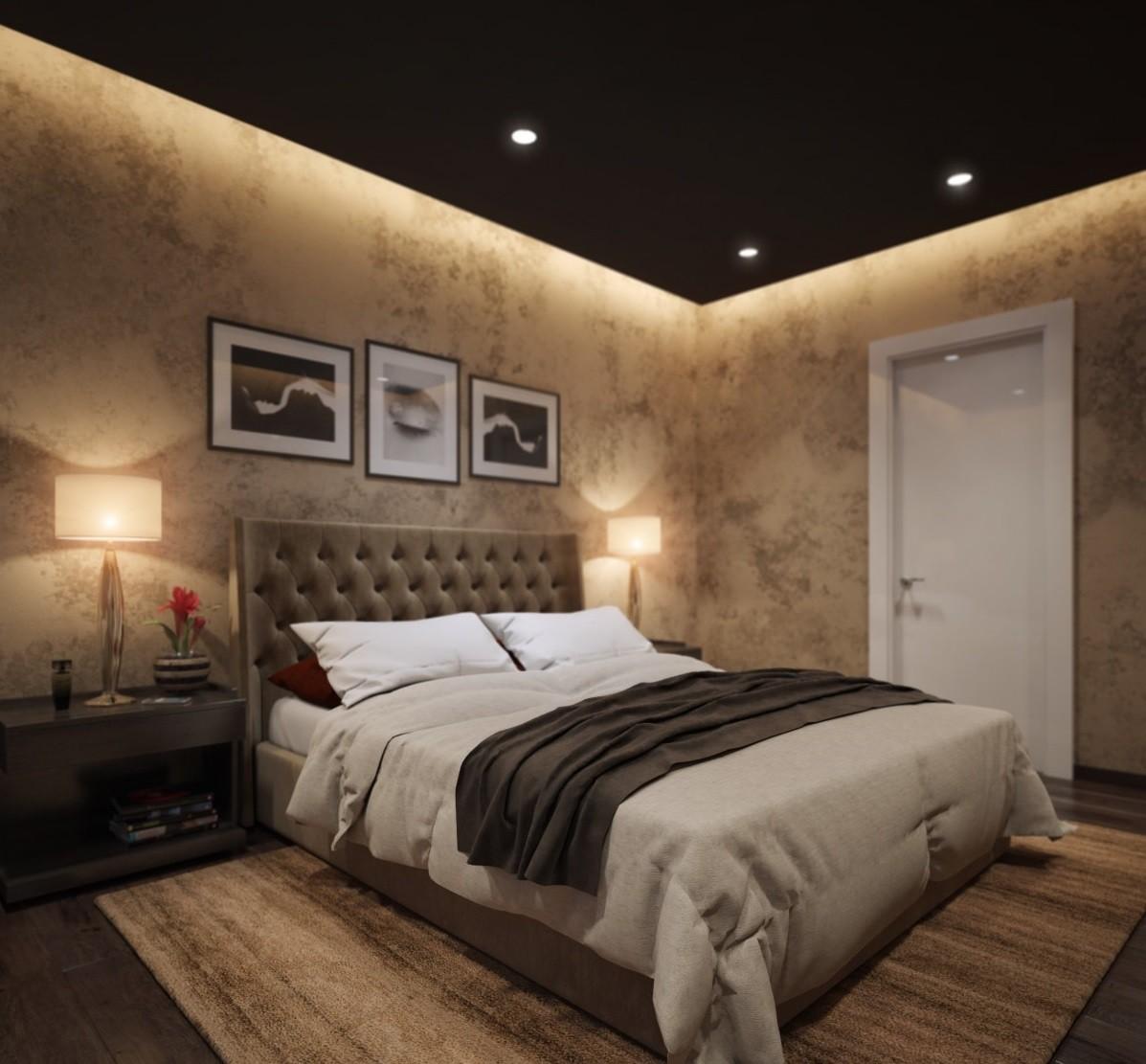 парящие натяжные потолки фото для спальни один человек